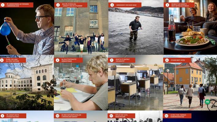 Bilde som viser 12 grunner til å bli UiB-student.