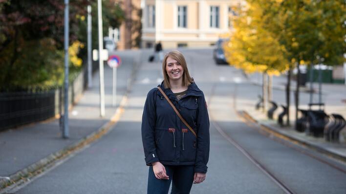 UiB-student på Nygårdshøyden