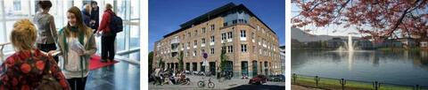 """Semesterstart for students, the faculty building and blossoming trees nex to the """"Store Lungegårdsvann"""""""