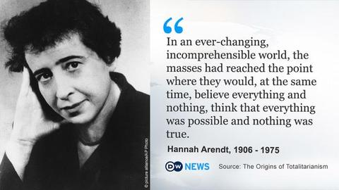 """Bilde av Hannah Arendt ved siden av sitatet: """"In an ever-changing, incomprehensible world, the masses had reached the point shere they would, at the same time, believe everything and nothing, think that everything was possible and nothing was true."""""""