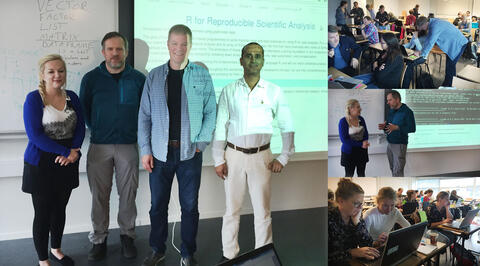 Collage of photos, the lecturers in front of the screen, and photos of the audience.