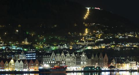 Bergen harbour in the evening