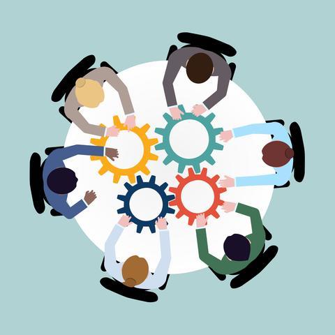 Tegning av deltakere rundt et bord som holder i tannhjul