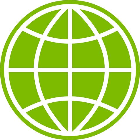 Drawing of a globe in green