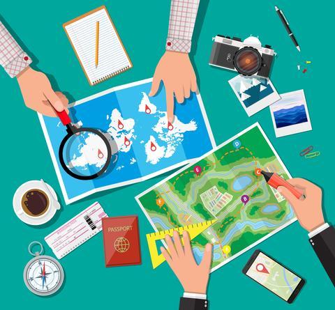 Tegning med reiseoversikt