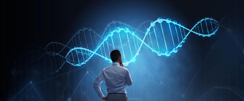 Man contemplatig over a dna string