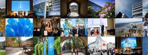 Fotokollage fra alumnustreff og fra campus