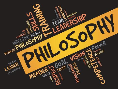 Ordsky med philosophy fremhevet sammen med ord som skills, leadership, team o.l.