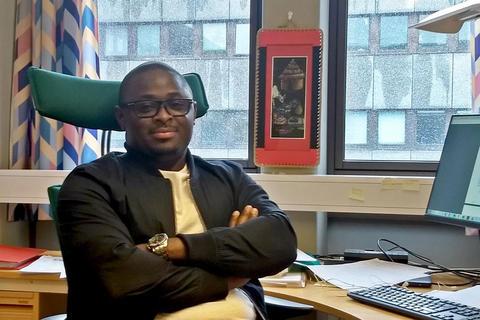 Francis Badiang Oloko in his office at UiB