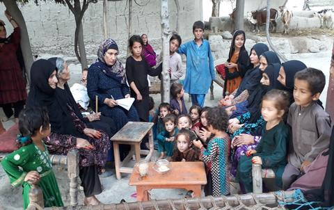 group of Afghan women and children