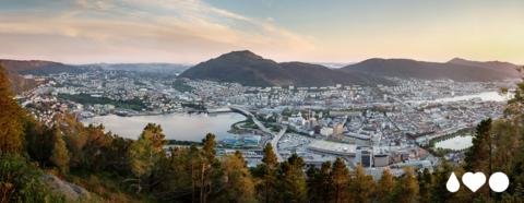Oversiktsbilde over Bergen