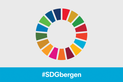 SDG wheel logo with the hashtag #SDGbergen