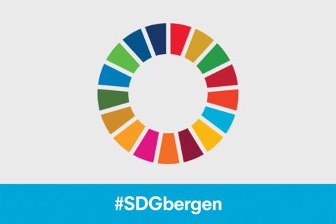 SDG wheel logo with the hashtag #SDGbergen