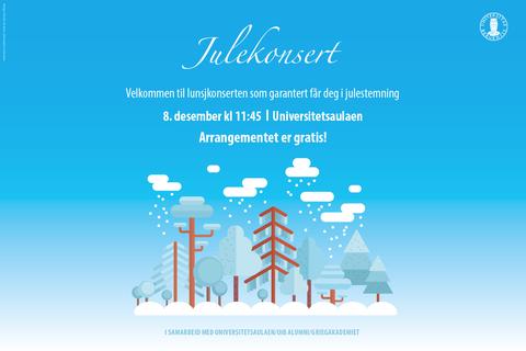 Plakat for julekonsert, illustrasjon med trær og snø.