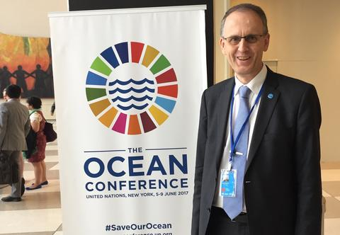 Professor og havforsker Peter M. Haugan fra Universitetet i Bergen på FNs store havkonferanse i New York 5.-9. juni 2017.