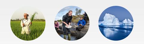 Hovedsatsingsområdene illustrert med tre runde bilder, mann i eng, studenter ved vann og isfjell.