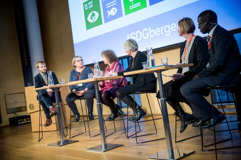 A scene from the SDG Conference Bergen 2018, the third out of five plenary panels at the conference on Thursday 8 February