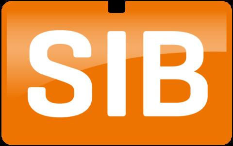 SiB logo in white and orange