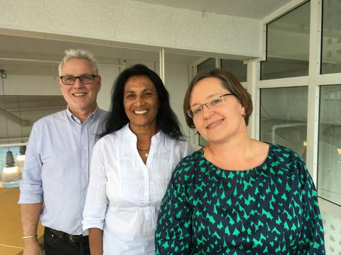 Jeppe Kolding (UiB), Shakuntala Thilsted (WorldFish) og Ragnhild Overå (UiB).