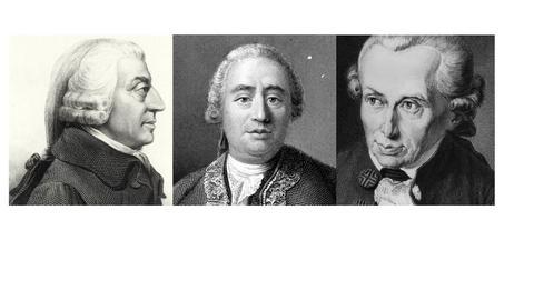 Bilder av Adam Smith, David Hume og Immanuel Kant