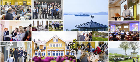 Collage of photos from the CCBIO Annual Symposia, lots of people in different settings.