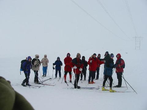 The participants of the winter school during a skiing trip.