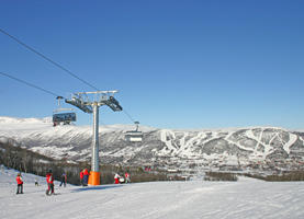 Scenic view over the snow-covered mountains in the Geilo area.
