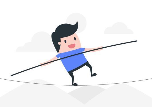 Man balancing on a line
