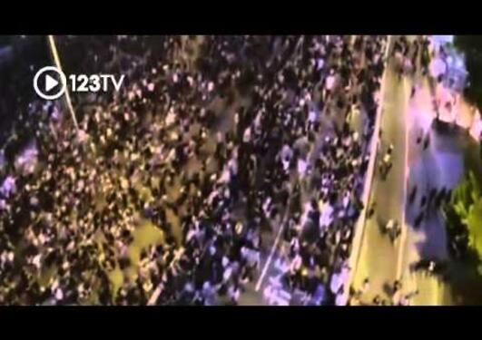 Dramatic aerial drone footage of Hong Kong protests