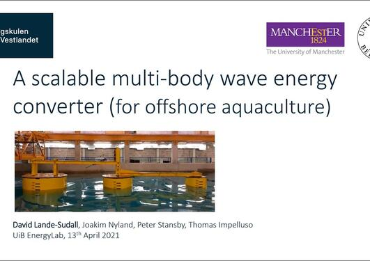 A scalable multi-body wave energy converter for offshore aquaculture