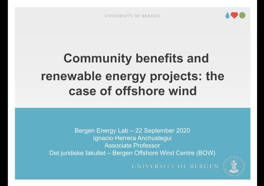 Community benefits and renewable energy projects: the case of offshore wind