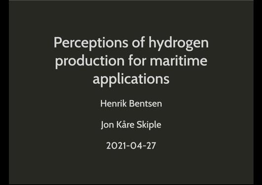 Perceptions of hydrogen production for maritime applications