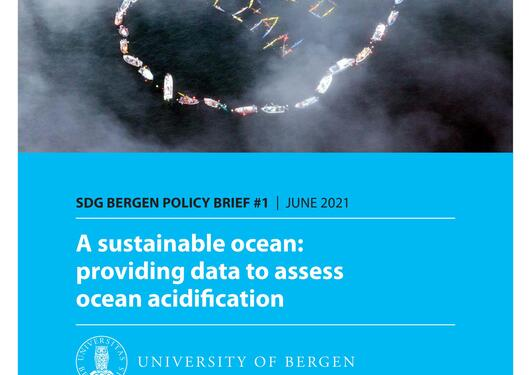 Front page of SDG Bergen Policy Brief #1 – A sustainable ocean: providing data to assess ocean acidification (June 2021).