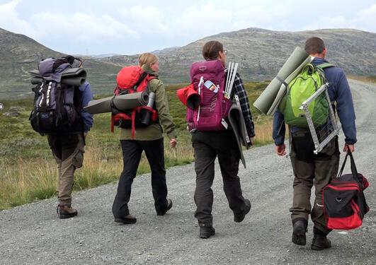 Bildet viser ansatte og studenter gående langs en fjellvei med tursekker.