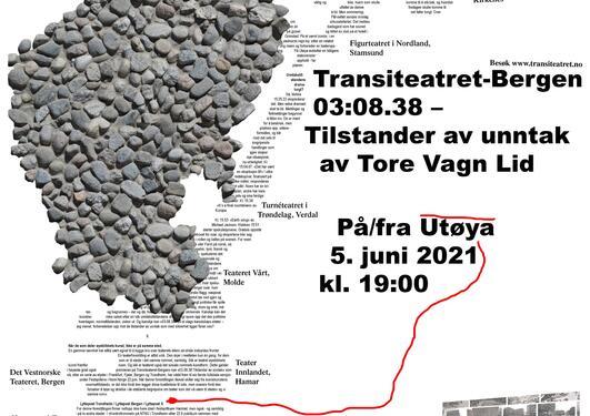 En formasjon av steiner, et kart av Norge formet av tekst og informasjon om arrangementet
