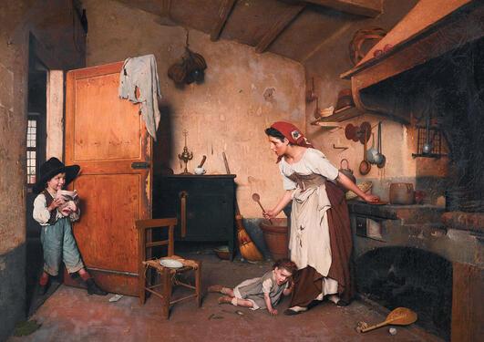 """Maleriet """"Der Maskenscherz"""" av Gaetano Chiericci (1838-1920)."""
