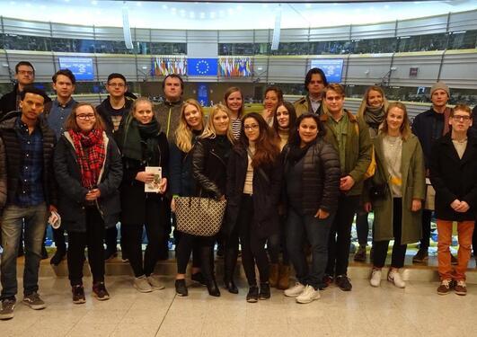 Bilder av studenter i Brussel