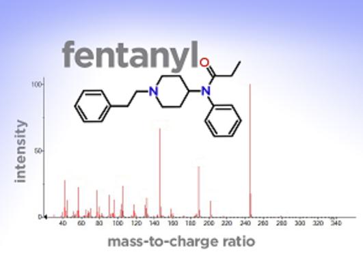 Mass spectrum of fentanyl