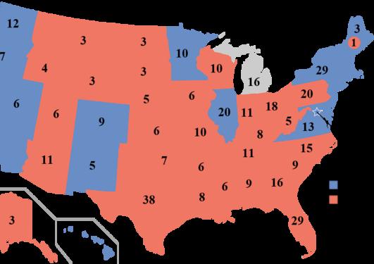 Kart over fordelingen av valgmenn i de amerikanske statene etter presidentvalget 2016