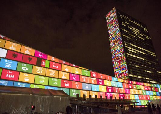 SDG graphic on the UN HQ