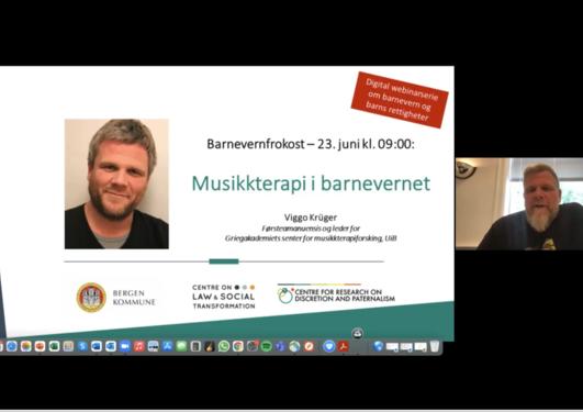 Bilde av Viggo Krüger og tittel for seminaret.