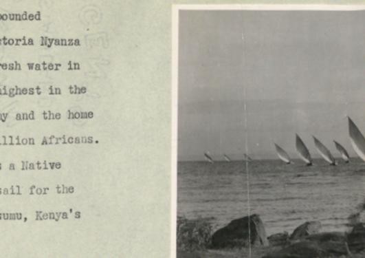 Tekst og eit bilete av nokre båtar i Afrika