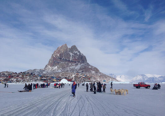 The Uummannaq community gather on the sea ice in front of the island, while the dogsled race is about to start