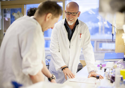 Scene from the Centre for Cancer Biomarker, senior researcher educating next generation of researchers.