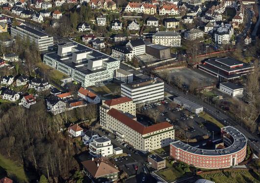 Luftfoto av området som kan bli Helsecampus Årstadvollen