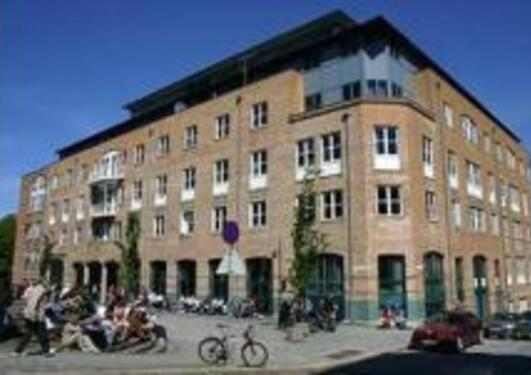 "Semesterstart for students, the faculty building and blossoming trees nex to the ""Store Lungegårdsvann"""