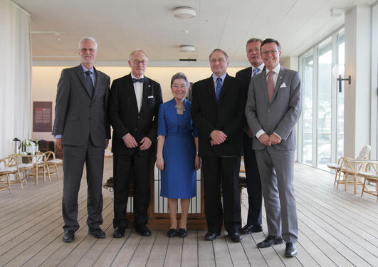 The partners of the new Academia Europaea Knowledge Hub Region Bergen met for the official opening at the Bergen Maritime Museum on Friday 30 May. University of Bergen's Rector Dag Rune Olsen to the right.