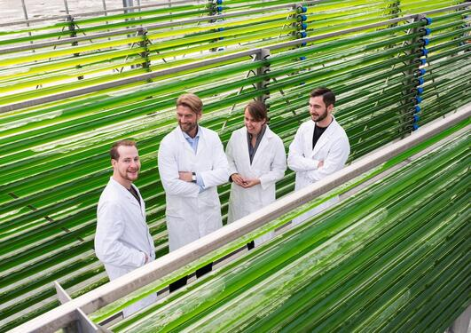 Opening of new national micro algae centre, headed by the University of Bergen, at Mongstad north of Bergen.
