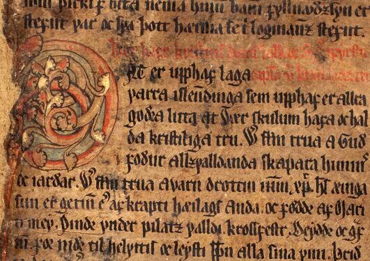 AM 134 4to, f. 1r: Jónsbók. 1281-1294. Reykjavík, Stofnun Árna Magnússonar í íslenskum fræðum