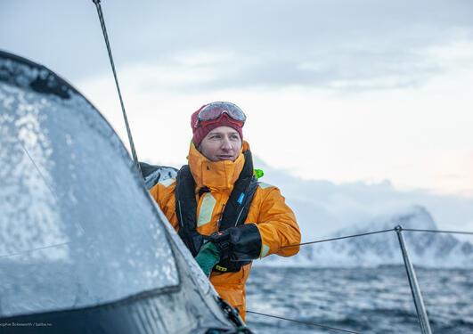 Andreas B. Heide på båten sin